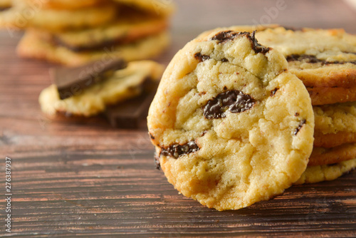 Fototapeta  Homemade chocolate cookies on wooden table.