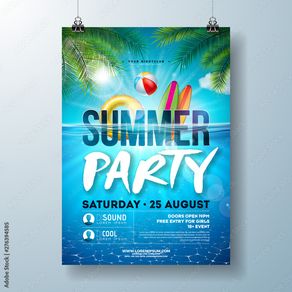 Fototapety, obrazy: Summer pool party poster design template with palm leaves, water, beach ball and float on blue ocean landscape background. Vector holiday illustration for banner, flyer, invitation, poster.