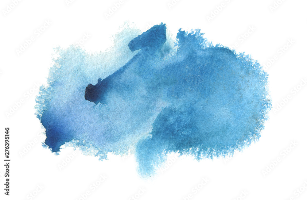 Fototapety, obrazy: Abstract blue watercolor blot painted background. Isolated.