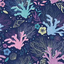Colorful Fun Coral Seamless Pattern, Happy Neon Underwater Sea Life With Shells, Corals, Starfish And Snails - Great For Summer Fabrics, Seasonal Prints, Backgrounds, Banners, Invitations