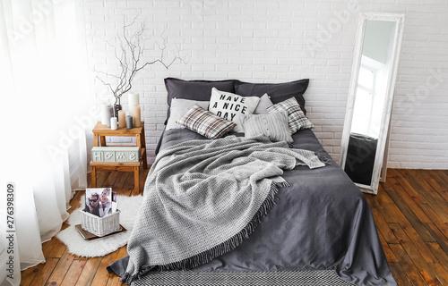 Fotografering  rustic bedroom interior decor textile background texture