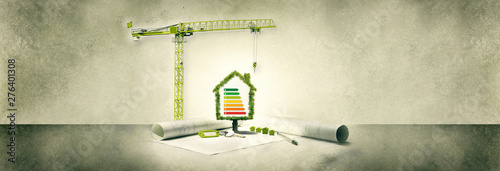 фотография  real estate project, house ecology, tree and crane
