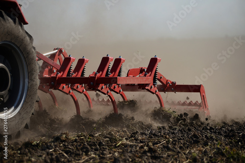 Agricultural plow close-up on the ground, agricultural machinery. Wallpaper Mural