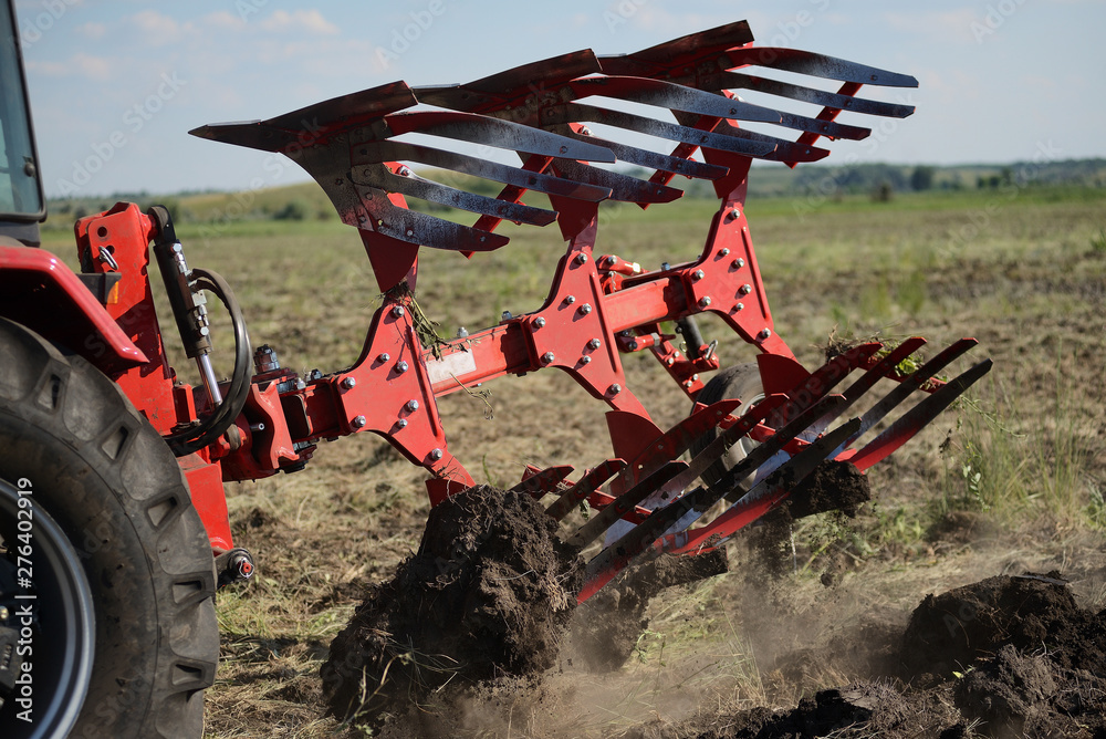 Fototapety, obrazy: Agricultural plow close-up on the ground, agricultural machinery.