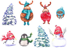 Set Of Snowmen, Snowy Fir Trees, Cute Mooses, Penguin And Owl. Watercolor Illustration On White Background. Isolated Elements For Design.