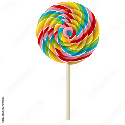 Fotografia, Obraz realistic rainbow swirl lollipop illustration vector