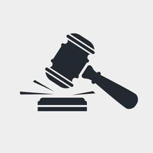Judge Gavel Black Icon. Auctio...