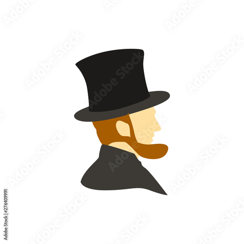Abraham Lincoln flat vector icon Poster Mural XXL
