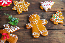 Gingerbread, Coffee And Coffee Beans (festive Atmosphere Christmas) Happy New Year. Top Food Background. Copy Space
