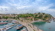 View of the old Antalya from the height of the drone or bird's-eye view. This is the area of the old town and the old harbor.