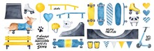 Skate Park Pack With Various Gear And Skateboarding Elements, Motivational Quotes, Party Balloons, Hearts, Urban Bench, Cap, Rollerskates. Blue, Yellow, Black Color Clipart. Hand Drawn Watercolour.