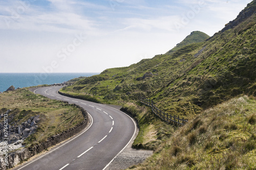 Canvastavla Road by the sea on Causeway coastal route in county antrim, Northern Ireland