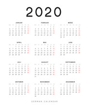 Calendar For 2020 Year. Week S...