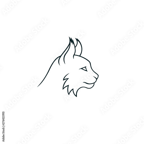 Lynx minimalistic linear logo isolated Wallpaper Mural