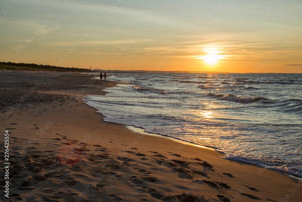 Fototapeta zachód słońca Zatoka gdańska, Plaża w Sobieszewie