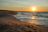 Fototapeta Fototapety z morzem do Twojej sypialni - zachód słońca Zatoka gdańska, Plaża w Sobieszewie