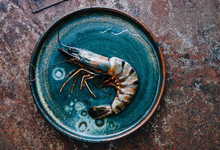 Raw Fresh Tiger Shrimp In A Plate Top View Space For Text