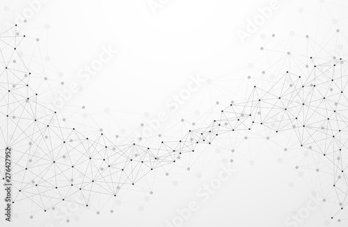 Fototapeta Abstract plexus technology futuristic network background with contrast level. Vector illustration obraz