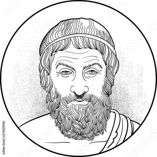 Fotografiet sophocles line art portrait, vector