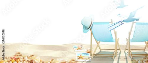 Foto auf Gartenposter Logo Strand Motiv mit Seemöwen