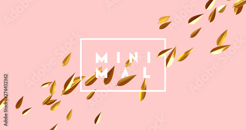 Poster Ouest sauvage Minimal background with golden leaves. 3d gold leaves petals. vector illustration