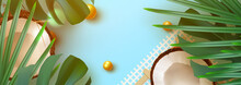 Summer Tropical Background. Various Fruit, Green Leaves, Palm Branches, Realistic Coconut Open. Rounded Border Frame For Text Flat Lay, Top View. Horizontal Banner, Poster Card, Website Header. Vector