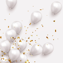 Festive Background With Helium Balloons. Celebrate A Birthday, Poster, Banner Happy Anniversary. Realistic Decorative Design Elements. Vector 3d Object Ballon, White Color.