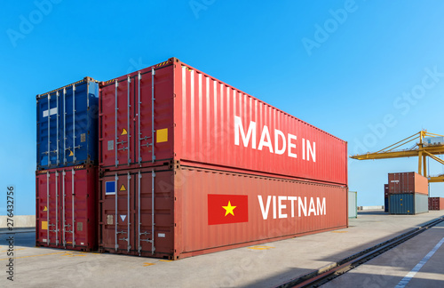 Trade war , Made in Vietnam smart logistic concept. Shipping