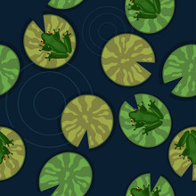 Seamless Texture Of Frogs On L...