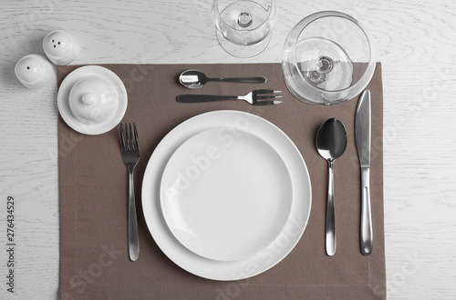 Fotografía Stylish elegant table setting on white wooden background, top view