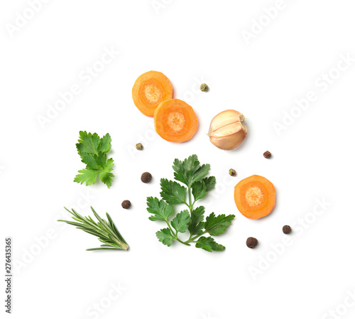 Obraz Flat lay composition with green parsley, rosemary, pepper and vegetables on white background - fototapety do salonu