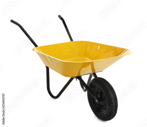 Fotografía Color wheelbarrow isolated on white. Gardening tool