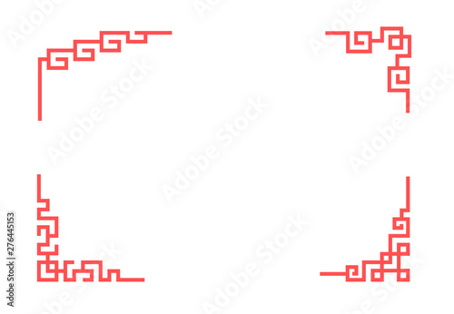 Photo  Chinese corner ornament in linear style, vector