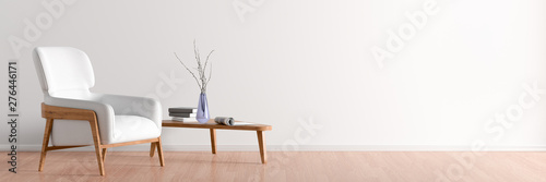Fototapety, obrazy: Interior of living room with white leather armchair and wooden triangular coffee table