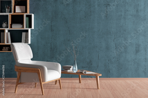 Fototapeta  Interior of living room with white leather armchair and wooden triangular coffee