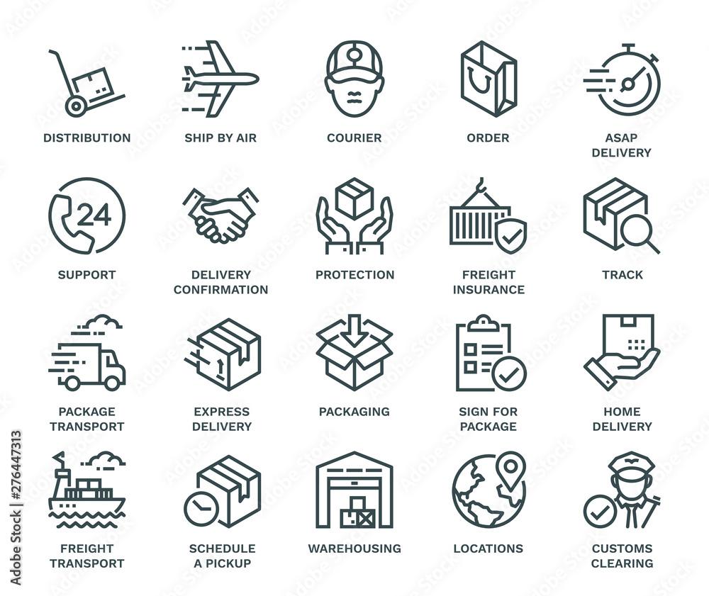 Fototapeta Delivery Icons,  Monoline concept