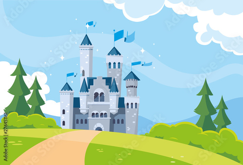 Fotomural castle building fairytale in mountainous landscape