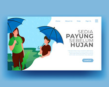 Two People Use Umbrellas When It Rains. Use An Umbrella. Vector Cartoon Illustration. Gradient Flat Illustration. Summer Landing Page. Holiday Illustration