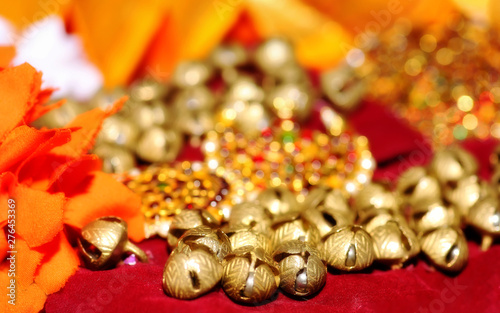 Golden bells of feet anklet tied to the feet of classical Indian dancer with orn Wallpaper Mural