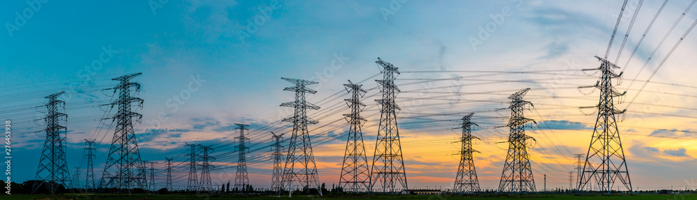 Fototapeta High voltage post,High voltage tower sky sunset background