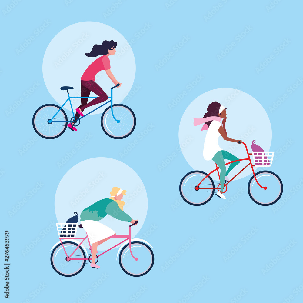 Fototapety, obrazy: group of young women riding bike avatar character