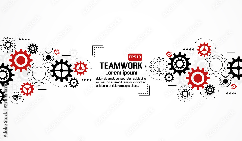 Fototapety, obrazy: Gears wheels over white background. teamwork creative concept. colorful design. Vector illustration