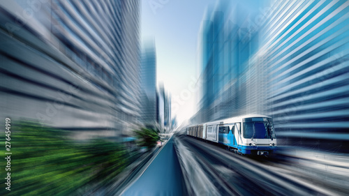 BTS sky train in Bangkok Thailand with motion blur effect Fototapet