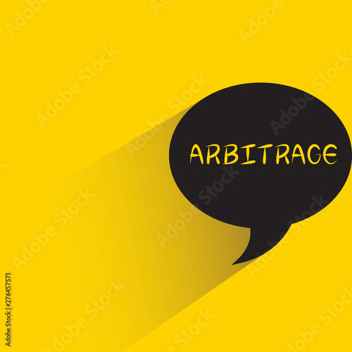 speech bubble yellow background with arbitrage word Canvas Print
