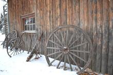 Winter, Wagon Wheels, Blacksmith Shop