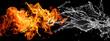 Leinwanddruck Bild - ぶつかり合う炎と水