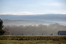 Foggy Hills Beyond Fence