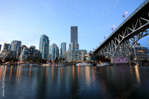 View of Vancouver downtown from Granville Island Public Market.