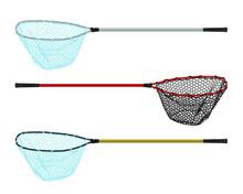 Fishing Landing Net Simple Icon Vector Set