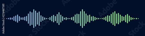 Photo  Blue and green sound waves as isolated on black background